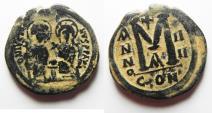 Ancient Coins - BYZANTINE. BEAUTIFUL AS FOUND JUSTIN II & SOPHIA AE FOLLIS.