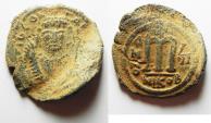 Ancient Coins - BYZANTINE. TIBERIUS II CONSTANTINE AE FOLLIS.