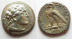 Ancient Coins - Egypt. Ptolemaic kings. Ptolemy V Epiphanes (204-180 BC). AR tetradrachm (27mm, 14.22g) Uncertain Cypriote or Phoenician mint.