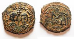 Ancient Coins - Revolt of the Heraclii. 608-610. Æ Follis – 40 Nummi . Alexandria mint, 1st officina. Dated IY 14 (610).