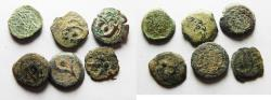 Ancient Coins - LOT OF 6 HASMONEAN AE PRUTOT COINS