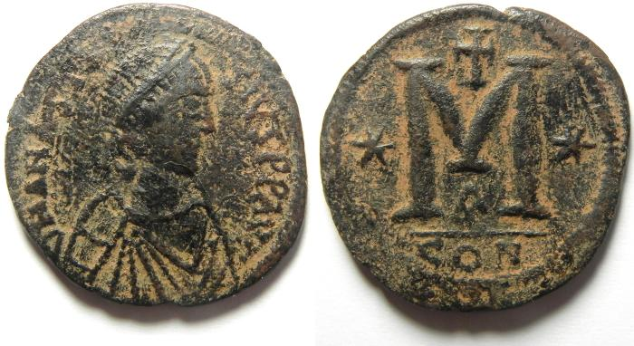 Ancient Coins - VERY NICE AND LARGE  BYZANTINE FOLLIS OF ANASTASIUS , CONSTANTINOPLE MINT
