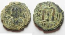 Ancient Coins - BYZANTINE: MAURICE TIBERIUS AE FOLLIS