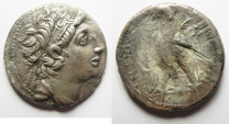 Ancient Coins - GREEK. Seleukid kings. Antiochos VIII Grypos (121/0-96 BC). AR tetradrachm (27mm, 12.71g) Ascalon mint. Struck in SE 196 (117/16 BC).
