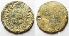 World Coins - ITALY. Venice. 17th century. Lead theriac box lid (36mm, 10.16g). Produced by the Alla testa d'oro pharmacopia of Venice.