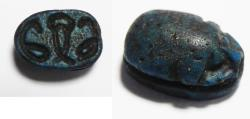 Ancient Coins - ANCIENT EGYPT. LARGE FAIENCE SCARAB . NEW KINGDOM. 1400 B.C