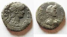 Ancient Coins - EGYPT. ALEXANDRIA. NERO BILLON TETRADRACHM. BUST OF ALEXANDRIA