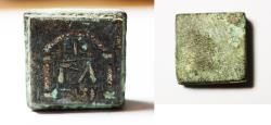 Ancient Coins - ANCIENT HOLY LAND. BYZANTINE BRONZE WEIGHT. Inlaid with silver and Enamelled