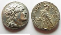 Ancient Coins - NEAR MINT STATE: Egypt. Ptolemaic kings. Ptolemy VI Philometor (first sole reign, 180-170 BC). AR tetradrachm (26mm, 14.15g)  Kition mint. Struck in regnal year 5 (177/6 BC).