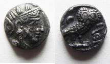 Ancient Coins - ARABIA, Southern. Saba'. Late 4th–mid 2nd centuries BC. AR tmrt – Quarter Unit (10mm, 1.24 g). Imitating Athens.