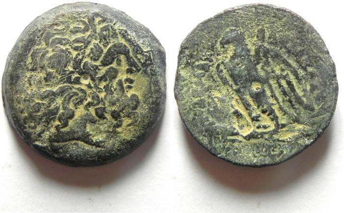 Ancient Coins -  PTOLEMAIC KINGDOM , PTOLEMY IV AE 28  , COUNTERMARKED