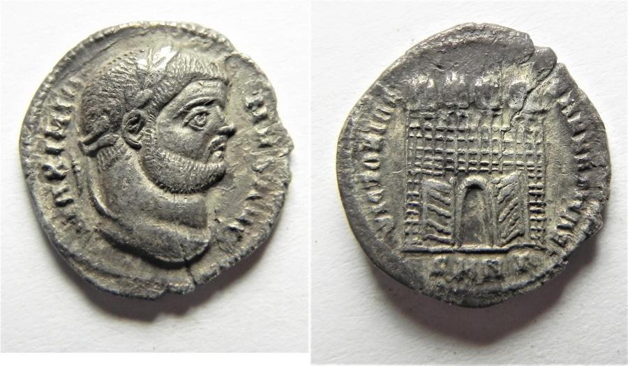 Ancient Coins - ROMAN IMPERIAL. Maximian (AD 286-305). AR argenteus (18mm, 2.93g). Nicomedia mint. Struck AD 295-296.