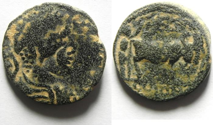 Ancient Coins - ARABIA , PETRA , ELAGABALUS , FOUNDER COIN, OVERSTRUCK ON A SYRIAN PROVINCIAL