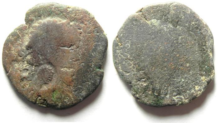 Ancient Coins - ARABIA , RABBATH MOBA , COUNTERMARKED  BARBARIC COIN , SEPTIMIUS SEVERUS AE 25