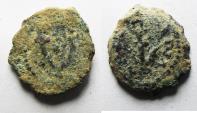 Ancient Coins - AS FOUND: JUDAEA. HERODIAN. HEROD I THE GREAT AE PRUTAH