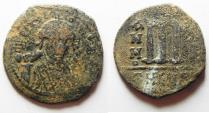 Ancient Coins - BYZANTINE. MAURICE TIBERIUS AE FOLLIS