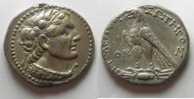 Ancient Coins - Egypt. Ptolemaic kings. Ptolemy V Epiphanes (204-180 BC). AR Tetradrachm (27mm, 13.88g). Uncertain Cypriot or Phoenician mint. Struck in era year 78 (185/4 BC).