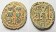 Ancient Coins - ARAB-BYZANTINE, AE FALS. Nysa-Scythopolis. Imitation of Justin II.
