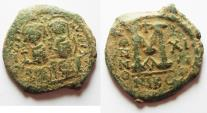 Ancient Coins - Byzantine. Justin II & Sophia AE Follis. Nikomedia