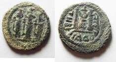 Ancient Coins - ISLAMIC, Umayyad Caliphate. Uncertain period (pre-reform). AH 41-77 / AD 661-697. Æ Fals . Type III. Tabariyya (Tiberias) mint.