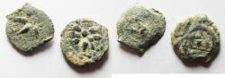 Ancient Coins - AS FOUND. IN IT'S ORIGINAL STATE: LOT OF 2 Ancient Biblical Widow's Mite Coins of Alexander Jannaeus