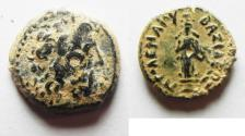 Ancient Coins - RARE WITH CULT STATUE OF APHRODITE: Ptolemaic Kingdom. Ptolemy III Euergetes, 246 - 222 BC. AE 13. SALAMIS MINT