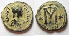 Ancient Coins - BEAUTIFUL WITH DESERT PATINA: ANASTASIUS AE FOLLIS. CONSTANTINOPLE