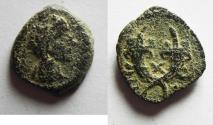 Ancient Coins - RARE . DATED ISSUE. YEar 10: NABATAEA. Aretas IV. 9 BC- AD 40. AE 13