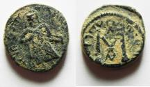 Ancient Coins - ISLAMIC. Umayyad Caliphate. Time of 'Abd al-Malik (AD 693-697). AE fals (15 mm, 3.11g). Probably 'Amman mint (no mint name).
