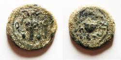 Ancient Coins - AS FOUND: JUDAEA, Jewish War. 66-70 CE. Æ Eighth Shekel .