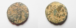 Ancient Coins - Be-Header of John The Baptist: JUDAEA, Herodians. Herod III Antipas. 4 BCE-39 CE. Æ Unit (18mm, 5.26 g). Tiberias mint.