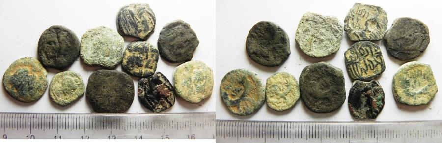 Ancient Coins - AS FOUND. LOT OF 10 NABATAEAN BRONZE COINS.