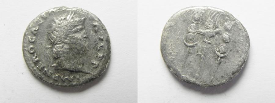 Ancient Coins - ROMAN IMPERIAL. Nero (AD 54-68). AR denarius (18mm, 2.69g). Rome mint. Struck AD 68