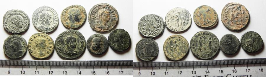 Ancient Coins - 	ROMAN. LOT OF 9 AE COINS. 4TH CENT. A.D