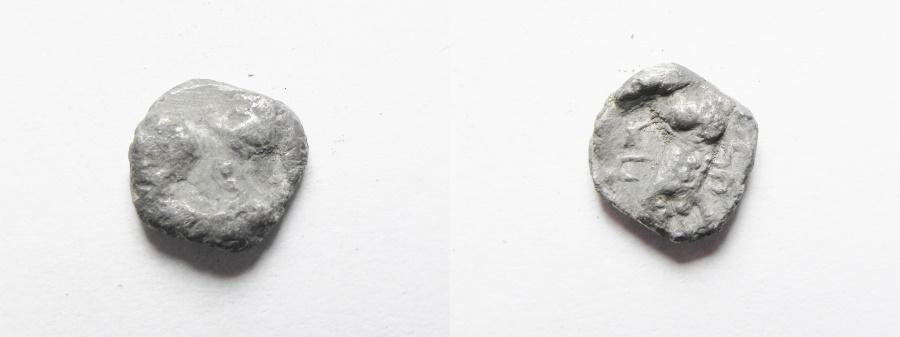 Ancient Coins - GREEK. Samaria. Fourth century BC. AR hemiobol (10mm, 0.58g) Athenian imitation types.
