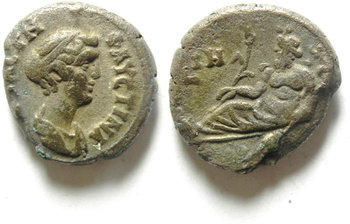 Ancient Coins -  EGYPT , ALEXANDRIA , FAUSTINA II AR TETRADRACHM , NILUS RESTING . YEAR 18