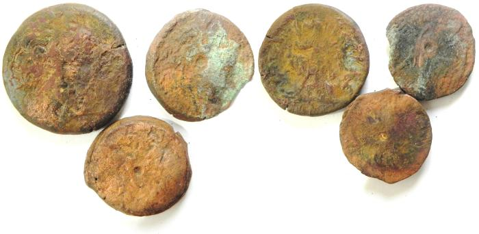 Ancient Coins - LOT OF 3 PTOLEMAIC AE COINS, LARGEST 34MM
