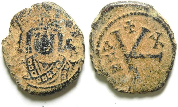 Ancient Coins - BYZANTINE , MAURICE TIBERIUS AE HALF FOLLIS