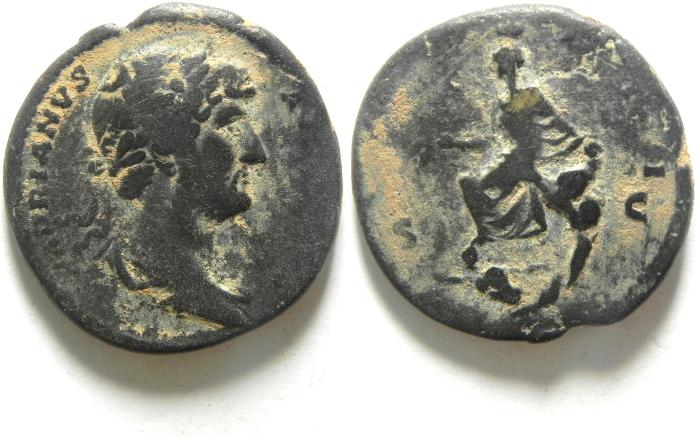Ancient Coins - HADRIAN AE AS , NICE DESERT PATINA