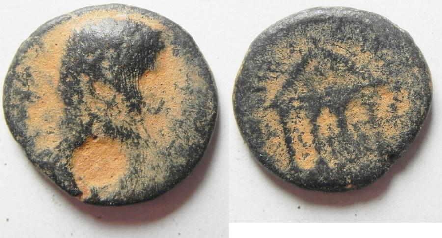 Ancient Coins - Judaea. Herodian dynasty. Herod Philip with Augustus. 4 BCE-34 CE. AE 19mm