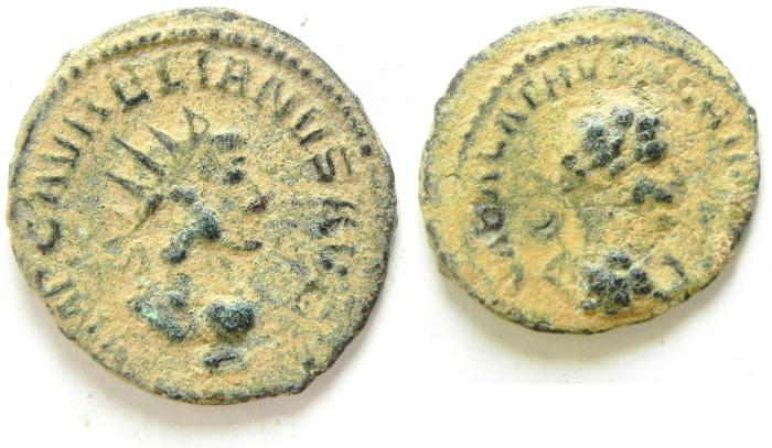Ancient Coins - VABALATHUS & AURELIAN AE ANTONINIANUS AS FOUND , AFFORDABLE , GREAT CLEANING POTENTIAL