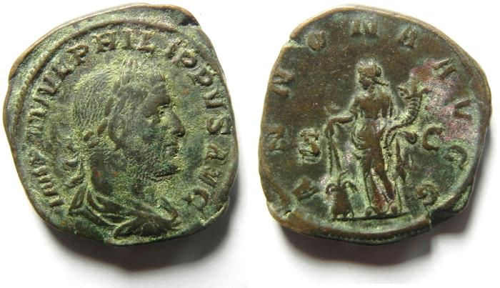 Ancient Coins - Philip I (The Arab) AE Sestertius,  244-249 AD , ANNONA , VERY NICE QUALITY, AS FOUND