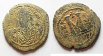 Ancient Coins - BYZANTINE. MAURICE TIBERIUS AE FOLLIS