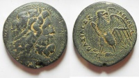 Ancient Coins - GREEK. Ptolemaic Kings.  Ptolemy III Euergetes (246-222 BC). AE drachm (45mm, 76g). Alexandria mint.