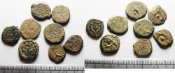 Ancient Coins - LOT OF 8 ANCIENT JUDAEAN AE PRUTOT