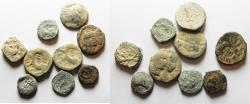 Ancient Coins - AS FOUND. IN IT'S ORIGINAL STATE: LOT OF 9 NABATAEAN BRONZE COINS