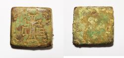 Ancient Coins - ANCIENT BYZANTINE BRONZE WEIGHT . 1/2 UNCIA.  600 - 700 A.D