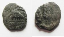 Ancient Coins - UNUSUAL JUDAEA. AGRIPPA I AE PRUTAH STRUCK ON A WIDOW'S MITE (LEPTON) FLAN