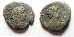 Ancient Coins - EGYPT, Alexandria. Nero. AD 54-68. BI Tetradrachm . Dated RY 12 (AD 65/66).