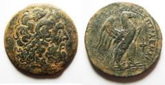 Ancient Coins - BEAUTIFUL: PTOLEMAIC KINGS of EGYPT. Ptolemy VIII Euergetes II (Physcon). 145-116 BC. Æ Oktobol